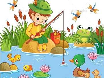 il bambino che pesca - ricomponi il puzzle e osserva cosa fa il personaggio