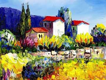 Pittura ad olio - pittura a olio - paesaggio ---