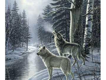 lobos a la luz de la luna - lobos a la luz de la luna - rompecabezas