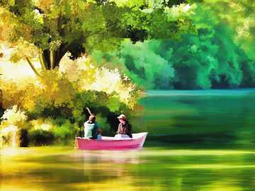 Painting - couple in a boat - pond - trees