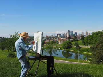 Outdoor painting - painter painting a picture ----