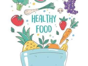 Gesundes Essen - Setzen Sie die Teile zusammen und versuchen Sie zu analysieren, worum es geht.