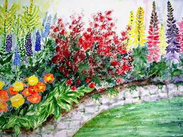 Painting - picture with flowers --------------