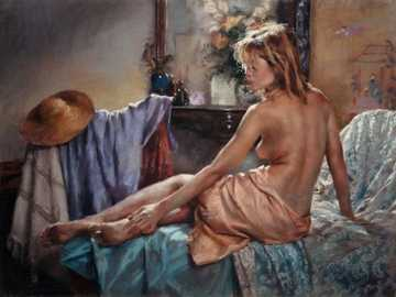 Vicente Romero Redondo, Romantic Woman - Vicente Romero Redondo, Romantic woman with her treasures