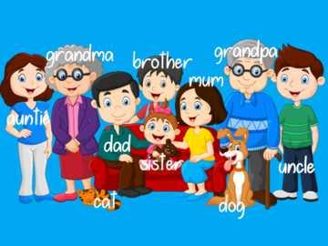 Slovníček členů rodiny - Položte kousky na správné místo.