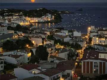 Cadaques under a full moon - City by the sea, full moon, evening, romantic