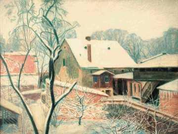 In winter in Ostrzeszów - Picture of Antoni Serbian. Paper, pastel. Private property Ostrzeszów