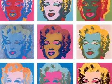 Andy Warhol Marilyn Monroe - Twarz Marilyn Monroe powtarza się dla każdego modułu z wariantami kolorystycznymi.