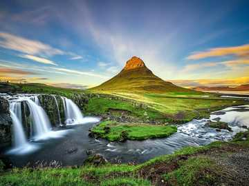 Mountain, waterfall and river - Mountain, waterfall and river. Iceland
