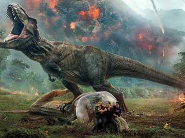 dinozaur1 - puzzle z dinozaurem w ogniu