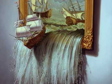 Obrazy ożywają - Obrazy, morze, statki, trompe-l'œil, malarstwo iluzjonistyczne
