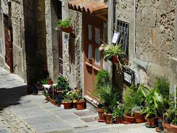 Italian vibes - Sardinia - stone street and flowers in front of the houses