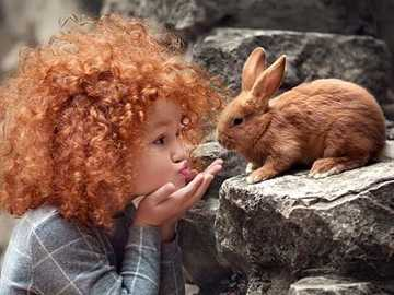bunny and girl - bunny and girl - copper colors