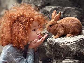 króliczek i dziewczyna - króliczek i dziewczynka - kolory miedzi