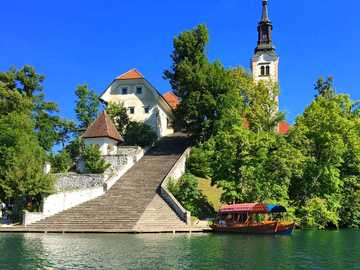Lake Bled, Slovenia - white concrete building.