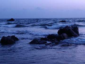 #relaxing - sea waves crashing on rocks during daytime. Vagator Beach Rd, Vagator, Goa 403509, India