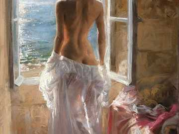 Gentle Temptation - Vicente Romero painting with the gentle temptation of a beautiful woman looking out the window