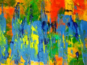 Abstract Painting - yellow blue and red abstract painting.