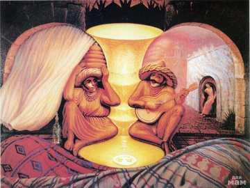 """Was sehen Sie? - """"Forever Always"""" von Octavio Ocampo, ein mexikanischer surrealistischer Maler."""