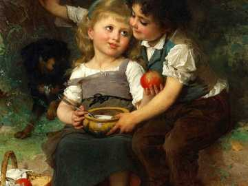 Bowl of milk - Painting by Emile Munier.