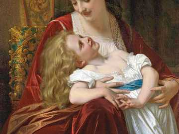 mother and daughter - Beautiful painting by Emile Munier.