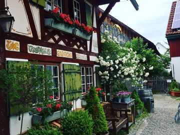 Muzeum gruntów - stara zabudowa i kwiaty