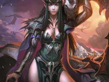 El duende y los dragones - El elfo y los dragones alados.