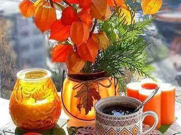 kawa i ciekawy bukiet - kawa na oknie i ciekawy bukiet