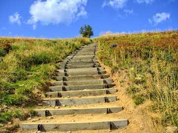 Bieszczady Poland - stairs to the highest peak of the Bieszczady Mountains - Tarnica