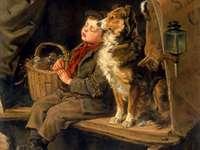Junge und sein Hund - Junge und sein Hund in einer Kutsche