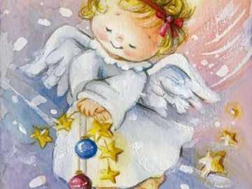 Petit ange jouant avec des étoiles et des sphères - Petit ange jouant avec des étoiles et des sphères