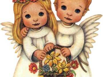 Petits anges avec un panier de fleurs - Petits anges avec un panier de fleurs