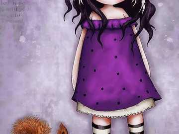 Illustration de fille avec écureuil. - Illustration de fille avec écureuil