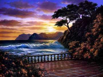 Wieczór nad morzem - Wieczór, morze, przyroda, zachód słońca