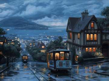 Miasto w porcie - Miasto, port, ulica, tramwaj, statki, morze, wyspa, góry