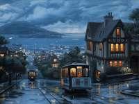 La città al porto - Città, porto, via, tram, navi, mare, isola, montagna