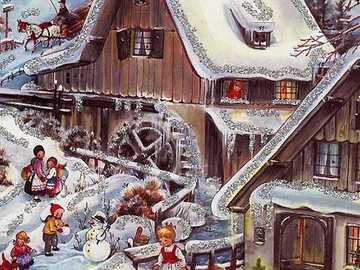Ornement vintage - Ornement vintage - paysage d'hiver
