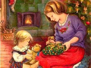 Odbieranie prezentów świątecznych. - Odbieranie prezentów świątecznych.