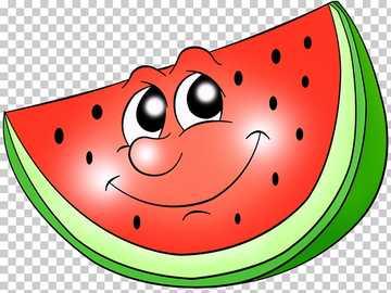 Assemble the piece of watermelon - eyes, seeds, fruit color, peel color.