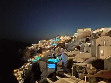 Santorini, Grecja - Santorini kaldera 2020 domów z widokiem na wulkan