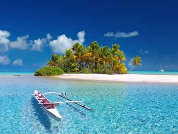 Wyspa Oceanu Spokojnego - Piękna wysepka na Pacyfiku z palmami
