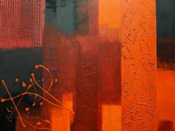 red and brown abstract painting - abstract orange toned painture from far.