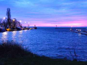En la península de Hel - Puesta de sol de invierno en la península de Hel.