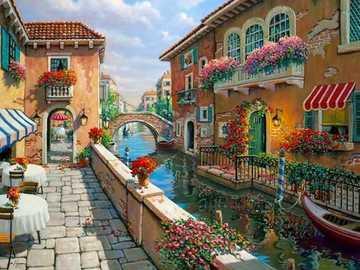 Venetian picture. - Landscape puzzle.