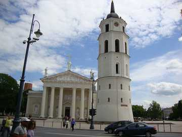 Lithuania - Vilnius - Main entrance to the cathedral and free-standing belfry.