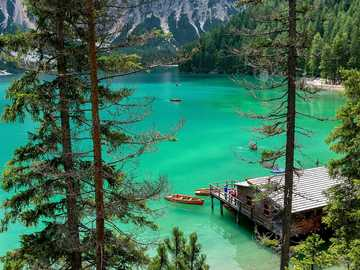 Lake Pragser - lake in Italy, located in the Dolomites in the Pustertal valley