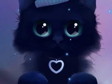 czarny kot - ten czarny kotek jest bardzo ładny
