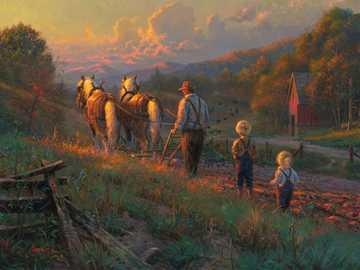 Bij zonsondergang - Puzzel: op het platteland in de schemering.