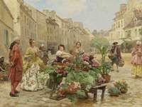 Street florist. - Painting: a street florist.