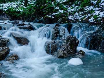 do meditation - water falls with rocks and green plants.